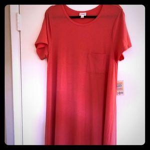 NWT LulaRoe Carly L Dress Pink Solid